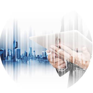 Image of a corporate man with tablet with city background for the Tax Advisory page